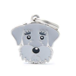 Schnauzer Dog ID collar tag in Grey